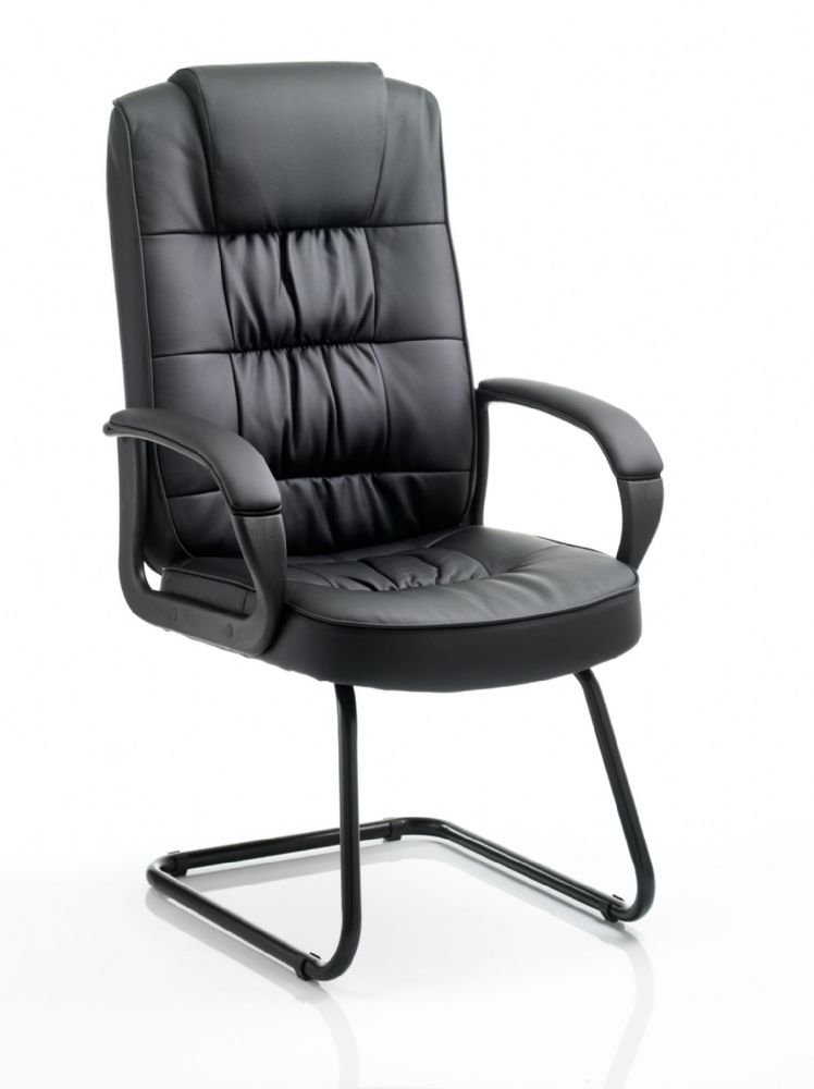 Moore Visitor Cantilever Fabric Chair With Fixed Padded Arms Black Frame Black Bonded Leather